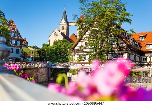 Esslingen cityscape and Church of St. Dionysius