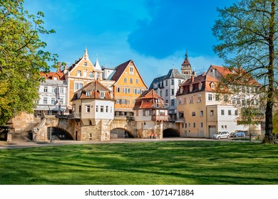 ESSLINGEN, GERMANY - APRIL 17, 2018: The photo shows the medieval town Esslingen in Germany with inner bridge.