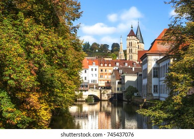 Esslingen Germany scenic view of town center from maille bridge with innere Brücke and Stadtkirche