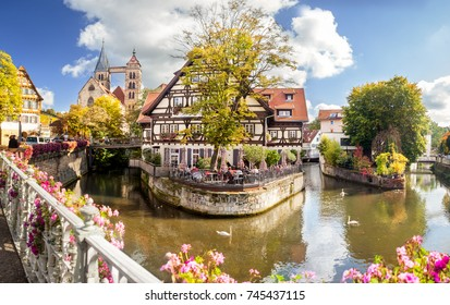Esslingen Germany scenic view of town center with Alte Zimmerei and Stadtkirche