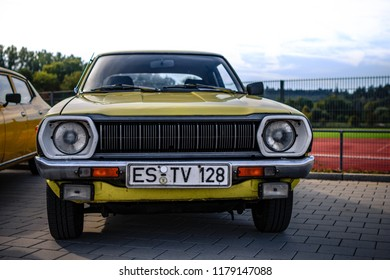 Esslingen, Germany - September 9, 2018: 1977 Datsun Cherry 120A F-II oldtimer car at the 3rd Oldtimer meeting event in Zell am Neckar.