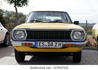 Esslingen, Germany - September 9, 2018: Datsun Cherry 120A F-II oldtimer car at the 3rd Oldtimer meeting event in Zell am Neckar.