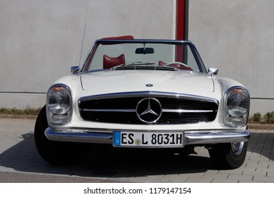 Esslingen, Germany - September 9, 2018: Mercedes-Benz oldtimer car at the 3rd Oldtimer meeting event in Zell am Neckar.