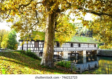 Esslingen Germany view of historic bridge /weir