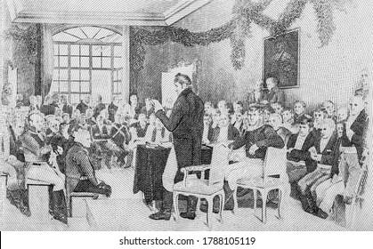 Création de la Constitution en 1814. Portrait de Norvège 100 couronnes de billets de 1968.