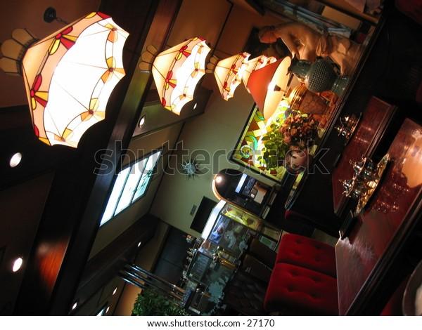 An establishment with quiet antique lighting