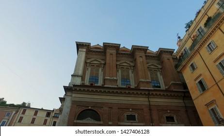 Establishment shot of Rome old town buildings  in italian narrow street in Trastevere
