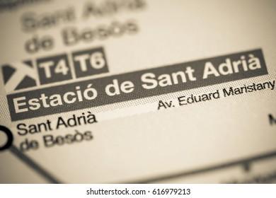 Estacio de Sant Adria Station. Barcelona Metro map.