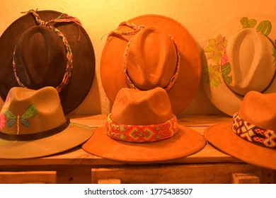 Teotihuacán, Estado de México, México - Wednesday, July 8, 2020: hats with colored ribbons, handmade by artisans from Teotihuacán.