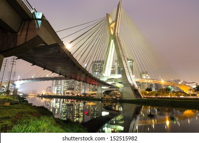 Estaiada Bridge Sao Paulo at night - Brazil