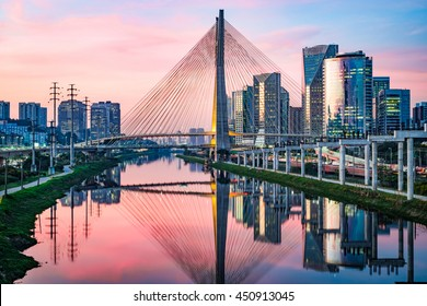 Estaiada Bridge in Sao Paulo at Sunset Skyline - Brazil - South America