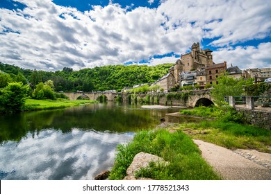 Estaing - beautiful village of France in Aveyron- historic tourist village with castle, river and bridge
