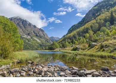 Estany de la Llebreta, Aiguestortes  National Park, Vall de Boi, Lleida, Catalonia, Spain