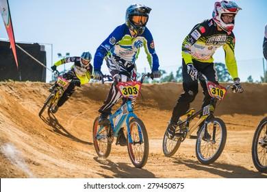 ESTARREJA, PORTUGAL - MAY 16, 2015: Master riders racing during the Taca de Portugal Bmx.