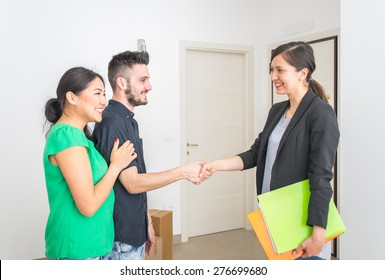 estate agent close a contract. family buying new apartment after choosing it. concept about houses, business, and people