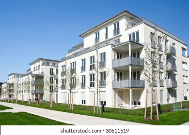 An estate of newly completed homes and apartments.