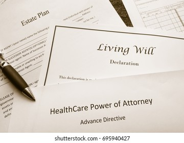 Estate Plan, Living Will, and Healthcare Power of Attorney documents