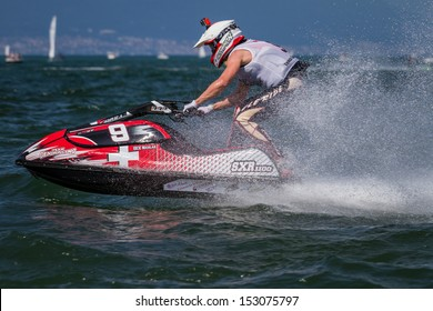 ESTAVAYER-LE-LAC, SWITZERLAND - JUL 06: Swiss Light Jetski competitor Nicolas Gex during the final of the 2013 Swatch Free4style Competition on July 06, 2013 in Estavayer, Switzerland.