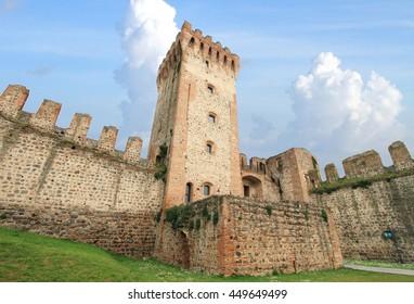 ESTE, ITALY - APRIL 3, 2014 - Medieval castle of Este on April 3, 2014 in Este, Italy.  It is a landmark medieval castle in the province of Padova.