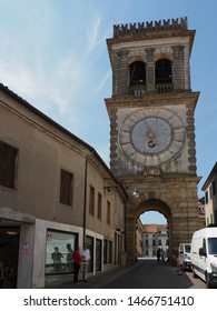 Este, Italy - July 17, 2019. Torre Civica di Porta Vecchia. Seventeenth-century tower located where one of the town gates stood centuries before.