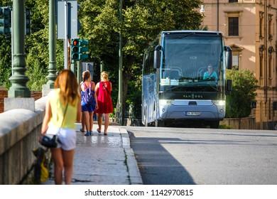 Este, Italy - July, 23, 2018: bus in Este, Italy