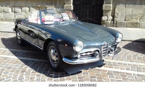 Este, Italy - September 16 2018: Alfa Romeo spider in a old car exposition