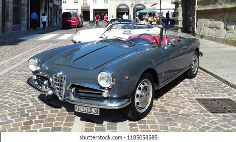 Este, Italy - September 16 2018: Alfa Romeo spider in a old car exposition