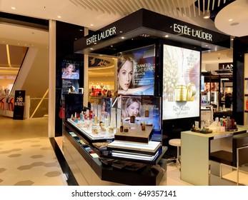 Estee Lauder cosmetic stand alone shop in Thailand supermarket. Bangkok, Thailand April 30,2017