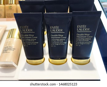 The Estee Lauder Double wear Maximum cover Camouflage Makeup tubes on its shelf for customer-testing in Blueport Shopping mall Hua Hin, Thailand July 10, 2019