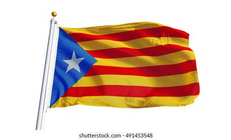 Estelada blava flag waving on white background, close up, isolated with clipping path mask alpha channel transparency