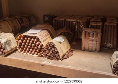 ESTELI, NICARAGUA - APRIL 21, 2016: Stored cigars at Tabacalera Santiago cigar factory in Esteli.