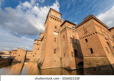 Estense Castle or Castle of San Michele (1385) is a moated medieval castle in the center of Ferrara, Emilia-Romagna, northern Italy. It consists of a large block with four corner towers