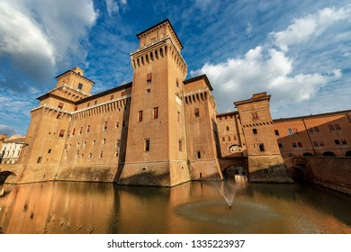 Estense Castle or Castle of San Michele (1385), Ferrara, Emilia-Romagna, northern Italy. Medieval building in downtown, large block with four corner towers