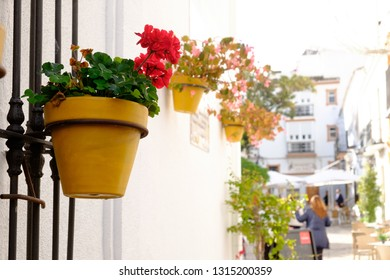 Estepona, Andalucia, Spain - December 25th 2017 : Estepona street with colorful yellow plantpots