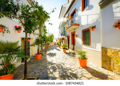 Estepona old town street, Malaga, Andalusia, Spain, Europe