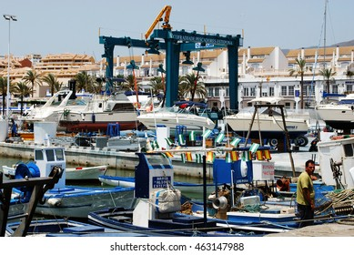 ESTEPONA, SPAIN - JULY 18, 2008 - Traditional Spanish fishing boats in the port, Estepona, Malaga Province, Andalusia, Spain, Western Europe, July 18, 2008.