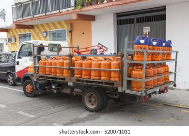 ESTEPONA, SPAIN - OCT 20, 2016: Propane gas bottles delivery truck in the city of Estepona. Costa del Sol, Spain