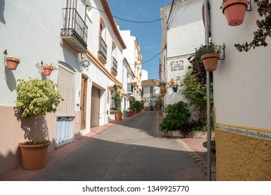 ESTEPONA, SPAIN - SEPTEMBER 28, 2019. Typical white town in Andalusia, Spain