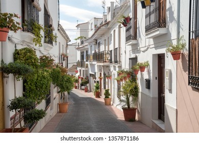 ESTEPONA, SPAIN - SEPTEMBER 28, 2019. Estepona - typical white town in Andalusia, Spain
