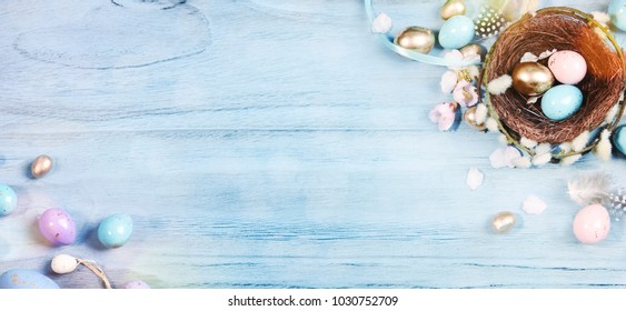 Ester background with colorful easter eggs