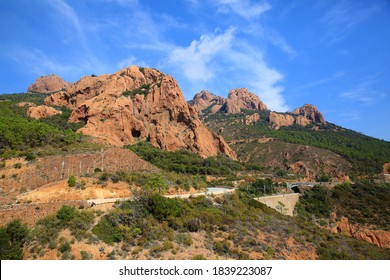 Esterel Massif located between Saint-Raphael and Mandelieu in the Var and Alpes-Maritimes department, in the Provence-Alpes-Cote d'Azur region, France