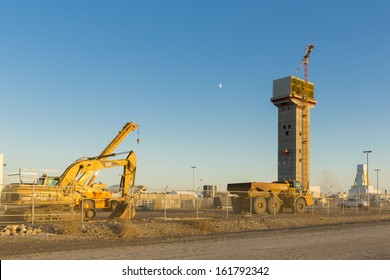 ESTERHAZY, CANADA - OCT 13: Building the service shaft of the Mosaic K3 Potash Mine on October 13, 2013 in Esterhazy, Canada.