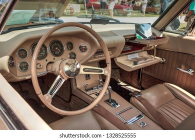 Estero, Florida, USA - February 23, 2019:  Gold 1963 Studebaker Avanti at the 10th Annual Classic Car and Craft Show at historic Koreshan State Park.