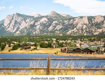 Estes Park Colorado from across the lake