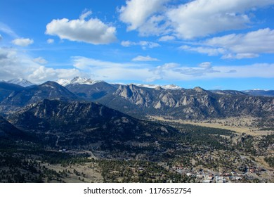 Estes Park, Colorado on a Sunny Day with Mountains in the Background