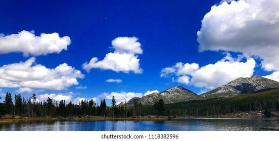 Estes Park, Colorado / United States, April 25, 2018:  Colorado Rocky Mountains reflect in lake