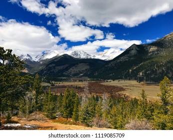 Estes Park, Colorado / United States - April 25, 2018:  Majestic Rocky Mountains