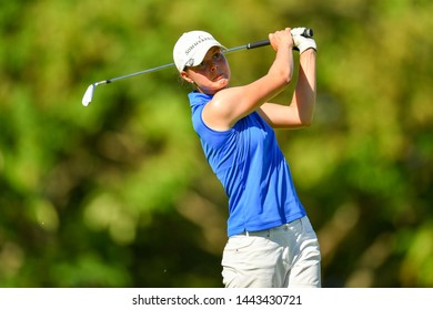 Esther Henseleit of Germany in action during The Ladies European Thailand Championship 2019 Round1 at Phoenix Gold Golf&Country Club on June  20, 2019 in Pattaya Chonburi, Thailand.