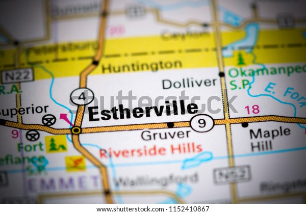 Estherville. Iowa. USA on a map