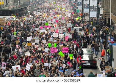 An estimated 400,000 people marched for women's rights and human rights in NYC on Jan. 21, 2017 the day after Donald Trump's inauguration.